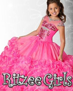 2015 Sheer Sleeves Ball Gown Little Girls Pageant Dresses Custom Made Long Princess Kids Party Gowns Ritzee Children Size 9 10 12 14