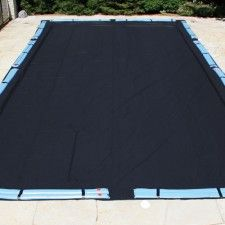 Secure your in-ground swimming pool's winter cover with water bags.  Find all of your pool supply needs at Doheny's Pool Supplies Fast: www.doheny.com