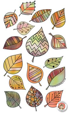 Leaf Drawing, Painting & Drawing, Doodle Drawings, Doodle Art, Fall Clip Art, Fall Art Projects, Cute Little Drawings, Watercolor Projects, Canadian Art