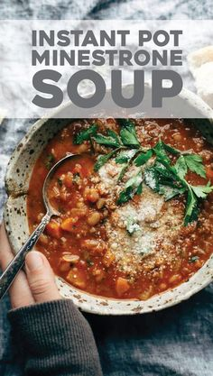 Instant Pot Minestrone Soup! Thick + chunky with veggies, garlic, beans, pesto, tomato sauce. Topped with Parm and served with bread. Easily made vegan. | pinchofyum.com