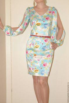 Платье из сатина в цветок фото