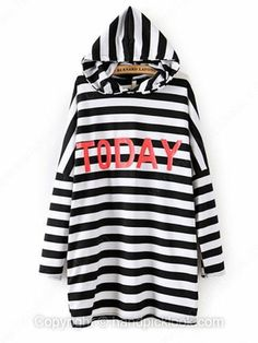 Black and White Long Sleeve TODAY Print Striped Hoodie -$20.69