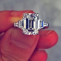 Always loved. The engagement ring (smaller - hers) my mother lost after my parents divorced. Love Ring, Dream Ring, Bling Wedding, Wedding Rings, Small Engagement Rings, Zales Jewelry, Emerald Cut Rings, Diamond Gemstone, Diamond Are A Girls Best Friend