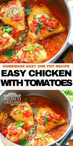 Easy flavorful one pot dish. This chicken is cooked with fresh tomato sauce. It doesn't need that many spices or herbs to render one of the most memorable stews you will ever taste! #mexicanfood #foodrecipes #chickendinner #lowcarb #chickeninapot Mexican Chicken Recipes, Easy Chicken Recipes, Meat Recipes, One Pot Meals, Easy Meals, Potluck Dinner, Mexican Potluck, Braised Chicken, Kitchen Recipes
