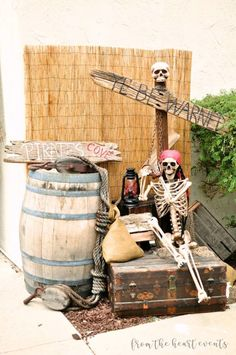 See more ideas about halloween decorations halloween party and pirate halloween. Batten down the hatches real quick because you ll be wanting to see a glimpse of these bone chilling pirate halloween decorations. These themed props can really create an . Pirate Halloween Decorations, Decoration Pirate, Pirate Halloween Party, Pirate Birthday, Halloween Party Decor, Halloween Themes, Birthday Crafts, 90th Birthday, Deco Pirate