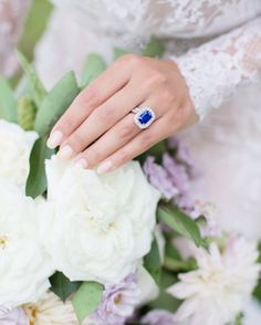 The designer of model Renee Puente's The groom himself, Glee actor Matthew Morrison(that is, with the help of San Diego's The Diamond Source). Blue Wedding Rings, Antique Wedding Rings, Blue Bridesmaid Dresses, Colored Wedding Dresses, Wedding Colors, Wedding Trends, Trendy Wedding, Wedding Ideas, Wedding Story