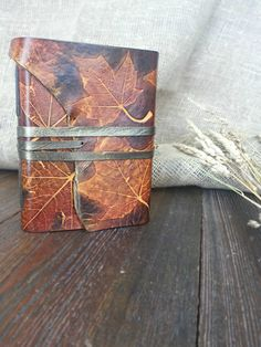 """Book """"Maple Syrup"""" Handmade Unique Leather Journal"""