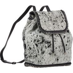 Stella McCartney Splash Falabella Backpack ($979) ❤ liked on Polyvore featuring bags, backpacks, backpack, white bags, pattern backpack, stella mccartney, pattern bag and flat bags