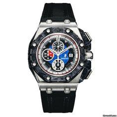 Audemars Piguet Royal Oak OffShore Grand Prix Platinum $129,995 #AudemarsPiguet #AP #watch #watches #chronograph platinum case leather bracelet sapphire glass