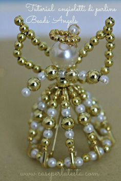 DIY sweet angel ornaments made with safety pins and beads. So pretty and easy! Tutorial by Caseperlatesta. (How To Make Christmas Angels) Beaded Christmas Ornaments, Christmas Jewelry, Christmas Angels, Diy Ornaments, Safety Pin Crafts, Safety Pin Jewelry, Safety Pins, How To Make Ornaments, How To Make Beads