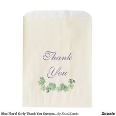Blue Floral Girly Thank You Customizable Favor Bags