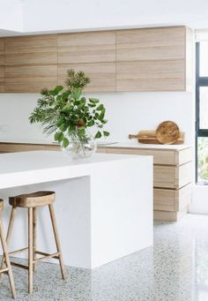 Modern Kitchen Design - A contemporary beach house offers up a bright and breezy interior by Cedar Kitchen Ikea, New Kitchen, Kitchen Decor, Kitchen White, Neutral Kitchen, Kitchen Island, Kitchen Plants, Kitchen Styling, Kitchen Dining