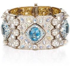 Nicholas Varney     Ventoux Gem Bracelet Cuff ($387,000) ❤ liked on Polyvore featuring jewelry, bracelets, brazalete, gioielli, blue, multi colored jewelry, cuff jewelry, blue jewelry, multicolor jewelry and gemstone bangle