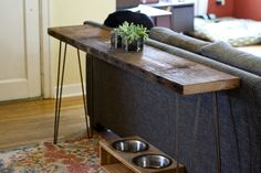 DIY Console Table // Rustic + Industrial // Wood from Salvage Works (Portland, OR) // Doug fir salvaged from an old barn  - a 12ft board cost just under $50 (then trimmed to fit space) // Hairpin Legs bought online