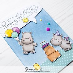 I'm joining in with the MFT Sketch challenge with this fun hippo card. I began by applying MFT ink to a white card base, then adding a piece of patterned paper to the bottom edge, cut with a …