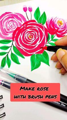 Watercolor Art Lessons, Watercolor Paintings, Brush Pen Art, Art Painting Gallery, Art Drawings Sketches Simple, Diy Canvas Art, Marker Art, Watercolor Flowers, Flower Art