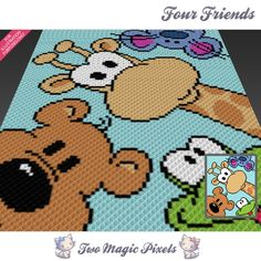 Four Friends crochet blanket pattern; c2c, cross stitch; graph; pdf download; no written counts or row-by-row instructions by TwoMagicPixels, $3.99 USD