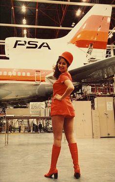 vintage-airliners:  PSA L-1011 and Stewardess, 1970's —www.facebook.com/VintageAirliners ~~✈