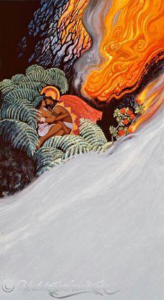Kanemiloha'i and Lohi'au Hawaiian Mythology, Hawaiian Goddess, Hawaiian Dancers, Hawaiian Art, Polynesian Art, Polynesian Culture, Kia Ora, Hawaiian Legends, Pop Art Wallpaper