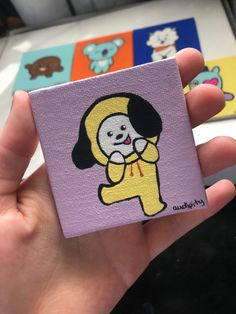 This is a self made Chimmy painting made to go on my Etsy! Small Canvas Paintings, Small Canvas Art, Mini Canvas Art, Diy Canvas, Boy Drawing, Mini Drawings, Hand Painted Canvas, Army, Kpop