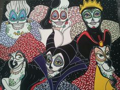 Sugar Skull Villains  ©Kitty OGane (My Art) Disney Day, Walt Disney, Bad Princess, Disney Princess, Simba And Nala, Sugar Skull Design, Day Of The Dead Skull, Disney Colors, Sugar Skulls