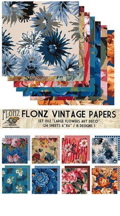 Paper Pack (24sh 15x15cm) Art Deco Large Flowers FLONZ Vintage Paper for Scrapbooking and Craft