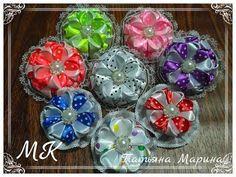 МК Двухцветные цветочки из атласной ленты в горох - YouTube