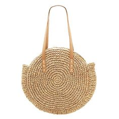 Amazon.com: Large Straw Bag, Women's Round Straw Bag Handbags Large Summer Beach Tote Bag Woven Handle Shoulder Bag (Brown): Shoes