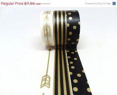 SALE Gold Arrow, Black and Gold Stripe, Black and Gold Polka Dot Washi Tape Set of 3