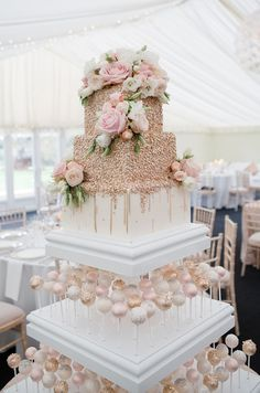 12 white-and-rose-gold-wedding-cake gold Wedding Real wedding: a romantic day at Chippenham Park with a Pronovias wedding dress - Gallery Image 12 Fancy Wedding Cakes, Beautiful Wedding Cakes, Wedding Cake Designs, Chic Wedding, Perfect Wedding, Wedding Day, Spring Wedding Cakes, Wedding Cake Pops, Rosegold Wedding Cake