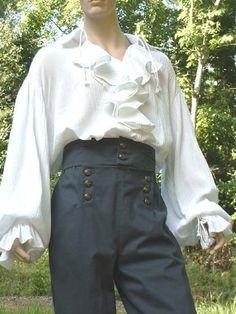 7834334f1 B020 Poet Shirt Musketeer Shirt Renaissance Pirate Shirt Flounce Ruffled  Front Men's Women's Ma