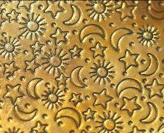 Brass Textured Metal Sheet Stars Moon and Sun Pattern - 6 x 2 inches - Bracelets Pendants Metalwork Sheet Metal Wall, Metal Walls, Brass Texture, Riveting, Star Patterns, Stars And Moon, Types Of Metal, Metal Working, Animal Print Rug