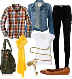 Layer the shirt over a plain white v-neck tee, denim jacket, and black skinny jeans. If it's warm enough, I like to roll up the ankles of my skinnies to show off camel-toned leather flats. Accessorize with a bright scarf, key necklace, and slouchy bag. @Lovely Undergrad Jessica Hansen