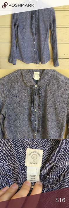 """J. crew """"The Perfect Shirt"""" Blue/White Button Down Great classic shirt in VGUC! No outward signs of wear, tag is a little ripped on the inside. Has been worn and washed a few times and feels a little more worn under the arms than the rest (thanks friction, I guess) but it was well taken care of and has a lot of life left. Ask any questions! 💕 18.5"""" bust, 26"""" length. J. Crew Tops Button Down Shirts"""