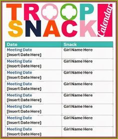 Snack Calendar ~ A must have!