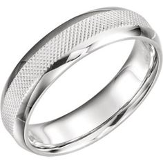 14K White 6mm Knurl Design Band Size 11
