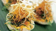 Drunken chicken cups with deep-fried asian coleslaw and chilli mayonnaise recipe : SBS Food