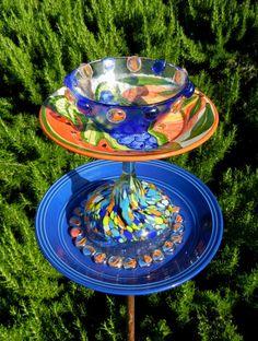SUMMER CANTINA - Garden Art, Bird Feeder, Repurposed, Garden Totem, Garden Stake, Birdfeeder, Garden Sculpture, Yard Art, Blue, Orange