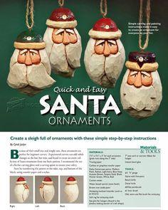 #145 Carving Santa Ornaments - Wood Carving Patterns - Wood Carving Patterns and Techniques