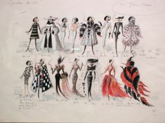 Amazing sketches for Close's costumes in the film.                                                                                                                                                                                 More