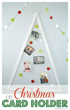 DIY Christmas Card Holder Wreath | Pinterest | Christmas Card Holders, DIY  Christmas And Photo Cards