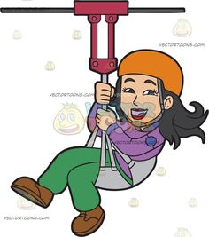 A Happy Woman Zip Lining: A woman with black hair wearing an orange helmet purple extreme sport green pants brown shoes smiles while zip lining Travel Clipart, Green Pants, Happy Women, Brown Shoe, Extreme Sports, Caricature, Black Hair, Zip Lining, Clip Art