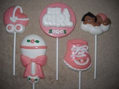 1 chocolate baby shower rattle its a girl bootie lollipop lollipops | sapphirechocolates - Edibles on ArtFire