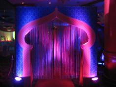 Aladdin themed birthday party.  Decor ideas. Blue. Golden. Magenta. Arabian Nights