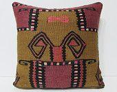 18x18 decorative pillow antique cushion cover tribal decor retro rug moroccan floor cushion sofa cushion cover brown pink kilim pillow 23043