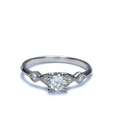Closeup Front view of Replica Art Deco Engagement Ring