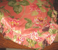 Gorgeous Pine Cone Hill Pink Floral Satin Queen Duvet Cover With Ruffled Edges #PineConeHill #FrenchCountry