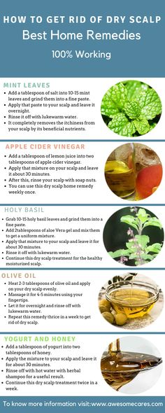 We can get rid of dry scalp with home remedies which effectively works to prevent dry scalp due to its high content of antioxidants and antimicrobial properties