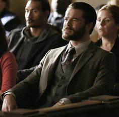 Charlie Weber in a three piece suit in Mama's Here Now #howtogetawaywithmurder