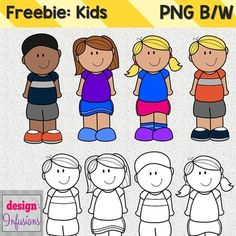 FREE These cutie kids clipart are ready to decorate your materials!What's Included:4 color images, 4 black and white images (PNG files).300 dpi so that they will neatly resize.Terms of Use (TOU)By purchasing this digital clip art pack you are entitled to one non-transferrable single-user license for personal or commerical use.